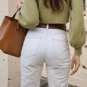 New free people straight white distressed jeans